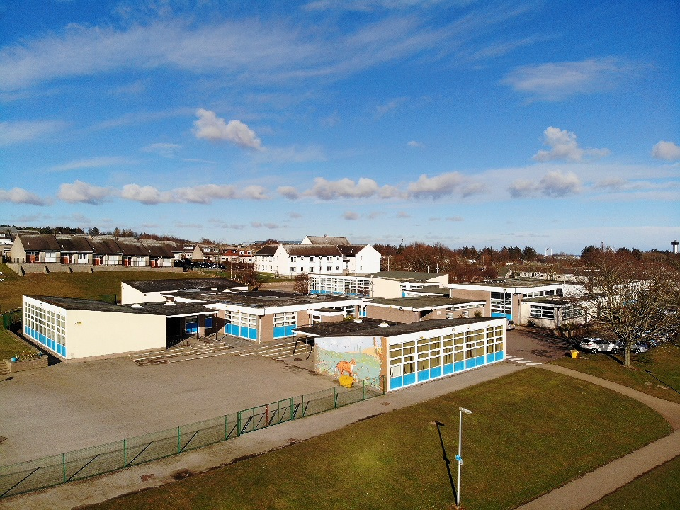 Scotstown School viewed from height